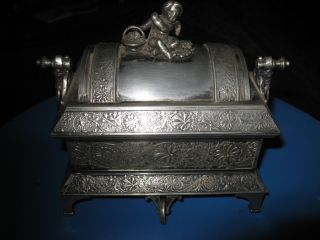 Antique Mermod Jaccard Co.  Quadruple Silver Plate Mechanical Jewelry Box 1884 photo