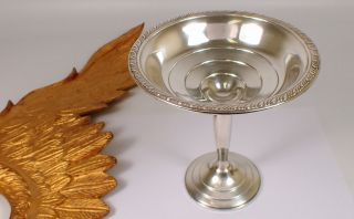 Vtg Preisner 177.  3g Sterling Silver Repousse Weighted Tall Compote Candy Dish photo
