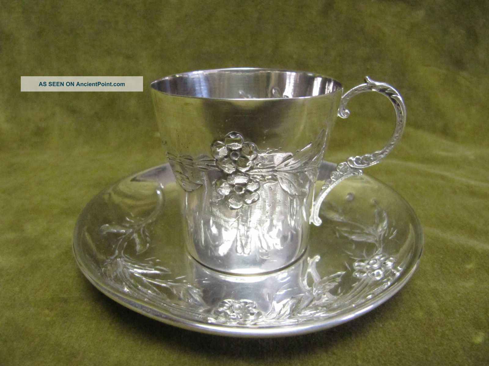 1900 French Sterling Silver (950) Coffee Cup (& Saucer) Art Nouveau St 104gr France photo
