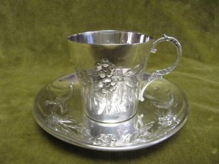 1900 French Sterling Silver (950) Coffee Cup (& Saucer) Art Nouveau St 104gr photo
