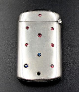 Sterling Silver Match Safe Vesta Case W/ Garnets & Saphires photo