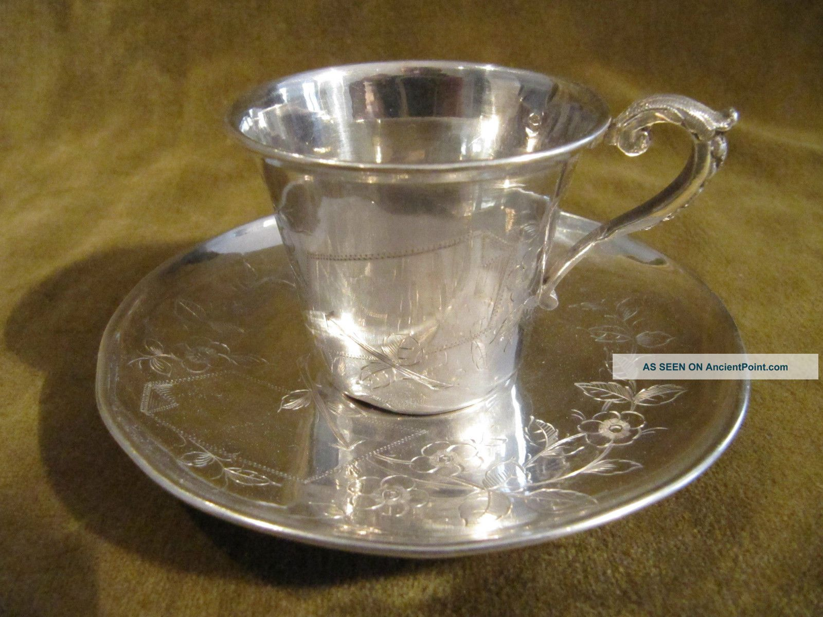 1900 French Sterling Silver Demi Tasse Cup Art Nouveau Business Card France photo