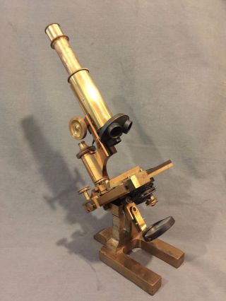Ross London 8114 Compound Microscope Copper & Brass Finish C.  1900 No Objectives photo
