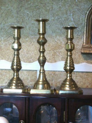 Antique Vintage Brass Beehive Candlestick Holder - Brass Candle Holders - (3) photo
