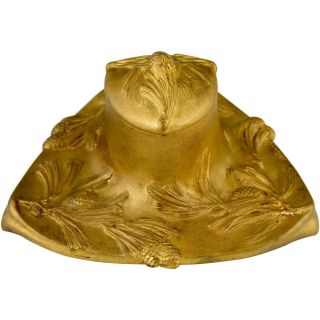 Art Nouveau Gilt Bronze Inkwell With Pine Cones By Alonzo France 1900 photo