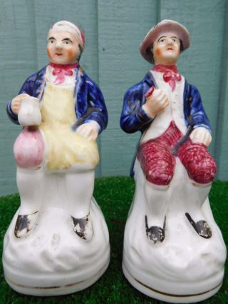Pair: Mid 19thc Staffordshire O ' Shanter & Souter Seated Figures C1860s photo