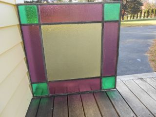 Antique Leaded Stained Glass Window Panel 24