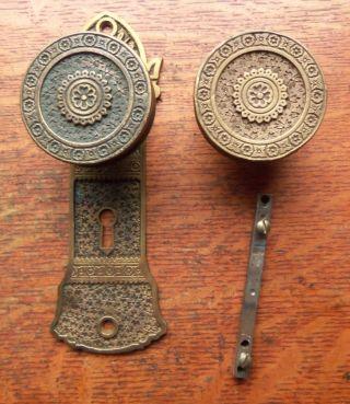 Antique Bronze Doorknobs & Matching Doorplate By Branford 1884