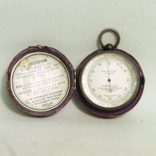 Late 19thc J.  H Steward Pocket Barometer/altimeter In Leather Case photo