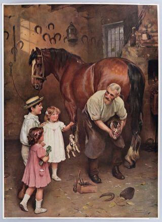 Antique 1913 Large Arthur J Elsley Charming Victorian Art Print Horse & Children photo