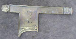 Antique Brass Finger Push Door Knob Handle Plate Victorian Architecture Vintage photo
