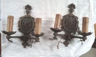Antique Vintage Victorian Or Art Deco Cast Iron Wall Sconces Rare photo