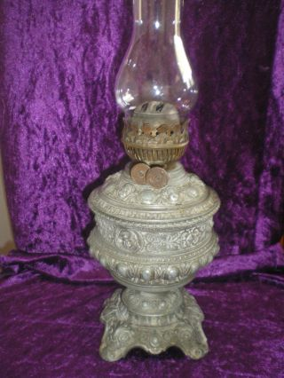 Antique Oil Lamp Cast Iron Neoclassical Relief Glass Font photo