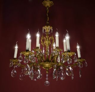 Magnificent Old Brass French Chandelier Crystal Vintage Lamp Ancient Antique photo