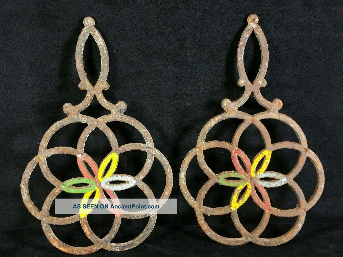 Two Antique Cast Iron Trivets Pennsylvania Dutch Handmade 11.  25 Inch Tall Rusty Trivets photo