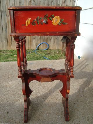 Antique Side Table Stand Tole Vintage Painted Flowers photo