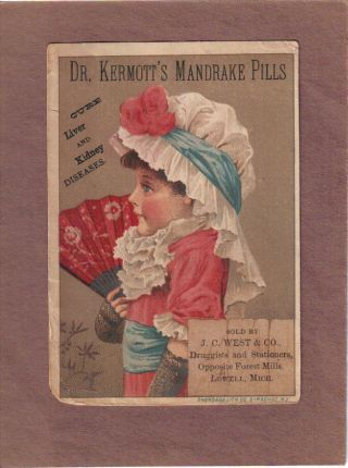 Dr Kermott ' S Mankrake Pills Quack Medicine Adv Trade Card C1880s Lowell Mi photo