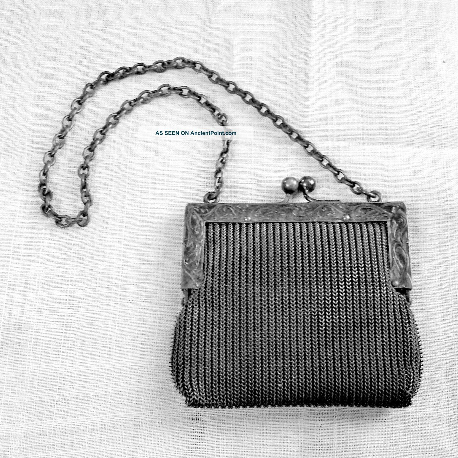 Woven Mesh Change Purse Or Child ' S Purse Chain Handle Unlined In German Silver Other Antique Silverplate photo