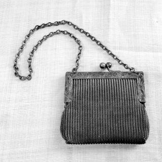Woven Mesh Change Purse Or Child ' S Purse Chain Handle Unlined In German Silver photo