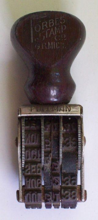 Vintage ' 39 - ' 43 Rubber Ink Date Stamp Dater Stamper Forbes Stamp Co Gr Mich. photo