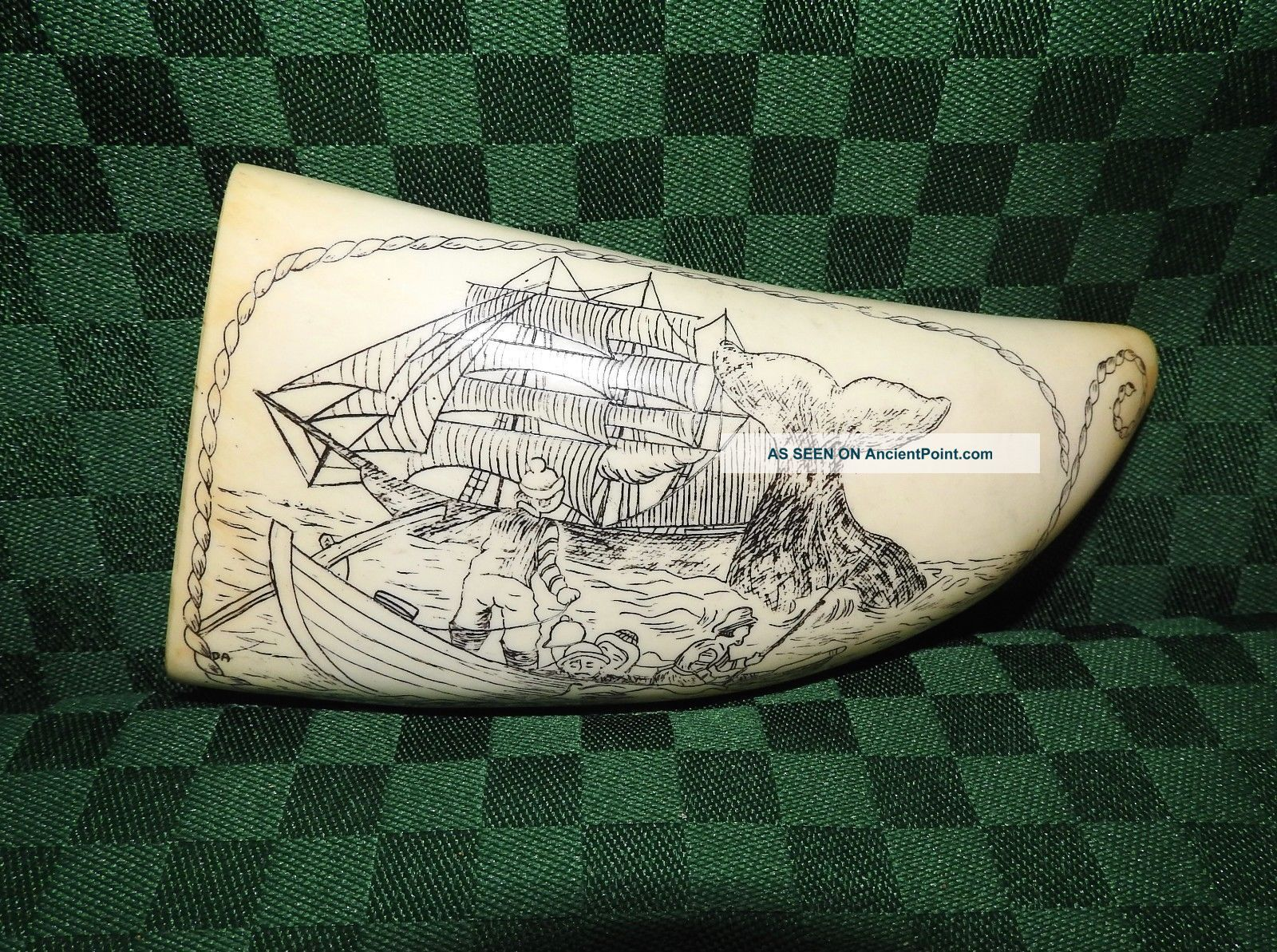 Scrimshaw Whale Tooth Artek Reproduction Whaling Catch Scene Scrimshaws photo