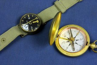 P 1231.  Watch Maker 2 Vintage Military Compass,  A Wrist And A Pocket.  The Wris photo