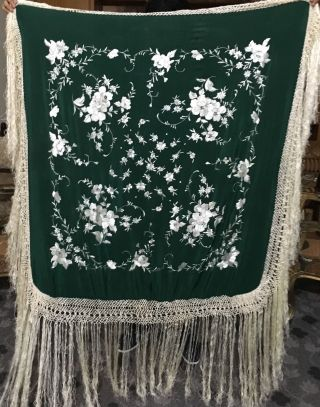Antique Silk Hand Embroidered Piano Shawl 44