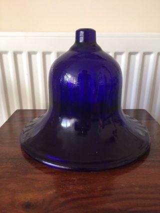 Rare Victorian/georgian Bristol Blue Glass Oil Lamp Smoke Bell Large photo