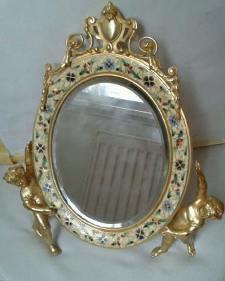 A Late 19th Century French Gilt Bronze Champleve Enamel Table Dressing Mirror photo