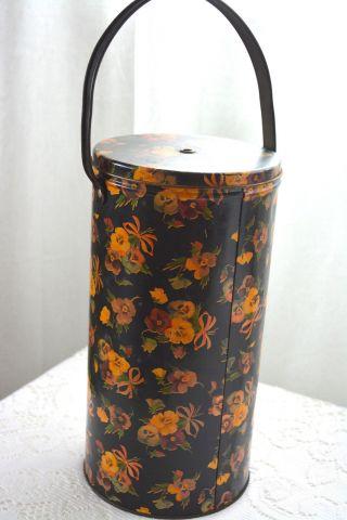 Vintage Yarn Holder Metal Circa 1940 ' S Black W/ Pansies Handle 10