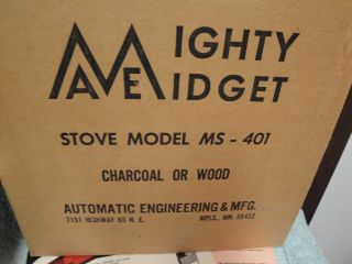 Vintage Mighty Midget Wood Charcoal Burning Stove Ms - 401 Fish House Spearing photo