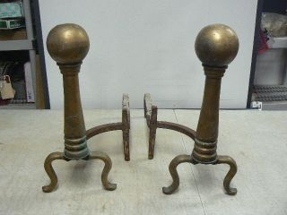 Antique Brass Cannonball Andirons Fire Dogs,  Pair,  18