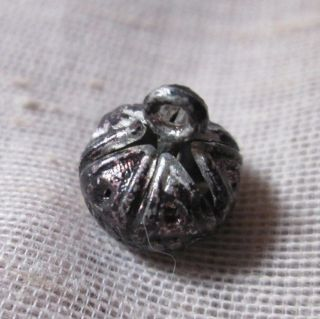 Antique Brass Twinkle Cricket Cage Waistcoat Button 1800s - 6 Sided Ball photo