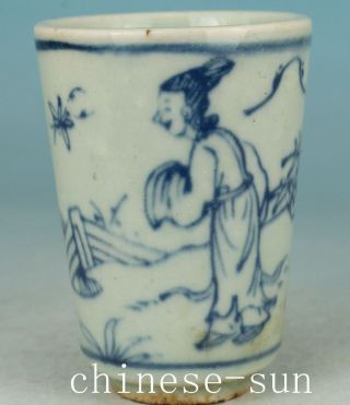 Chinese Old Porcelain Painting Belle Figure Collect Wine Tea Cup Gift photo