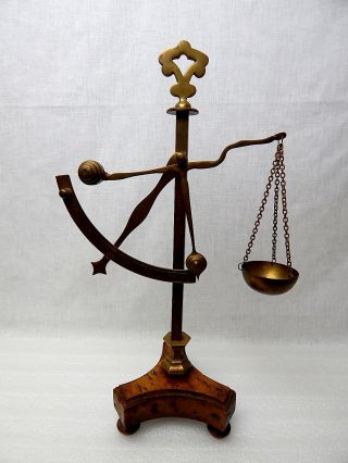 Viintage Apothecary Scale Made In Italy Brass Wood Base Display Piece photo