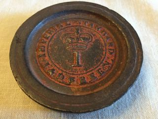 Old Antique Imperial Standard Iron Scale Weight 1 Pound J & D Green Crown 1820 photo