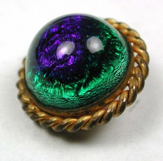 Antique Glass In Metal Button Peacock Eye Design W/brass Rope Border - 9/16