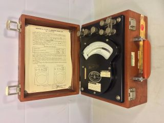 Vintage Weston Ammeter In Wood Case Model 370 photo