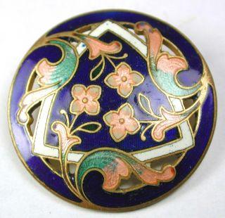 Antique French Enamel Button Pierced Flowers In Triplicate Design - 1 & 1/16