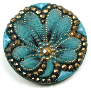 Antique Victorian Glass Button Turquoise W/ 4 Leaf Clover W/ Gold Luster - 1