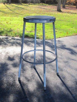 Vintage Industrial Metal Drafting Work Shop Factory Round Stool Chair 30