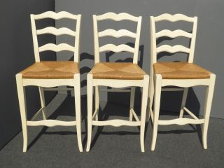 Three Ethan Allen Vintage French Country Rye Seats Barstools Bar Stools photo