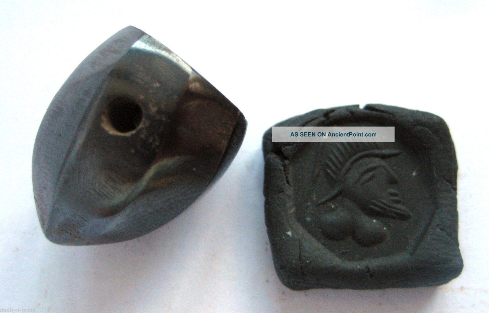 Circa.  400 A.  D Sassanian Empire Zoomorphic Pirite Seal Matrix - Kings Head Detail Near Eastern photo