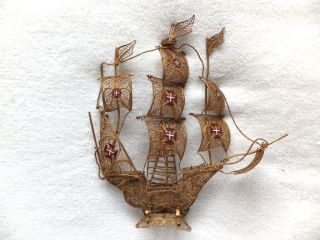 Large Vintage Madeira Gold Filligree Metal Galleon Ship Stand Ornament 27 Cms photo