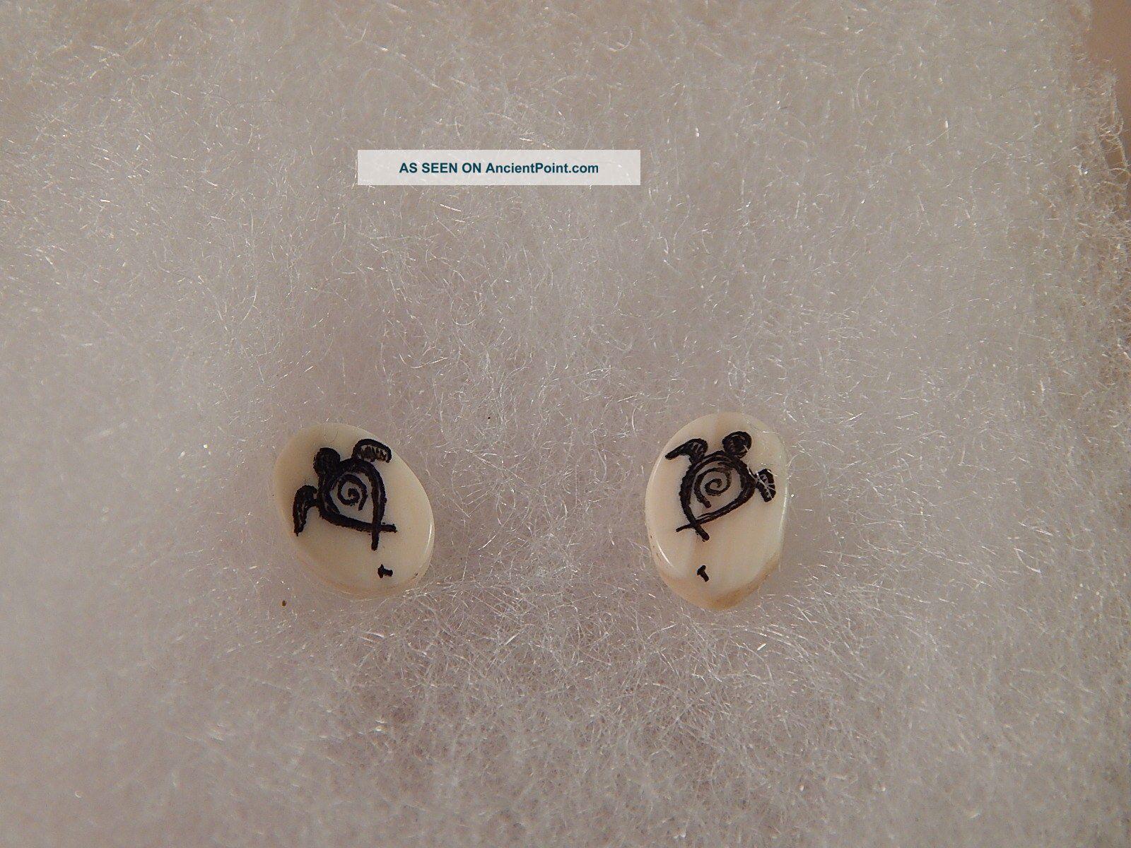 Scrimshaw Bovine Bone - Post Earring - Turtles Scrimshaws photo