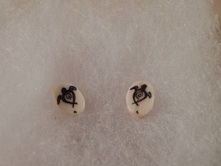 Scrimshaw Bovine Bone - Post Earring - Turtles photo
