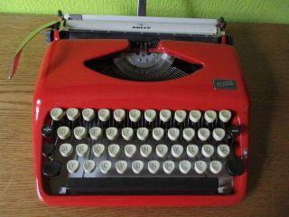Portable German Typewriter Firered /beige Tippa By Triumph Adler 60`s Vintage photo