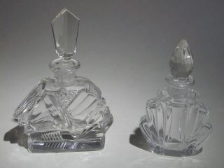 Two Art Deco Vintage Cut Glass/crystal Perfume Bottles photo