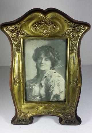 Fabulous Art Nouveau Antique Gilt Brass & Oak Photograph Frame photo