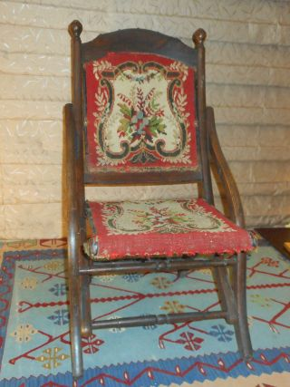 1870 80s Victorian Fold Up Carpet Chair Finish photo